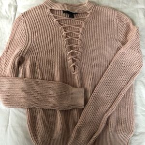 Forever21 - pink lace up sweater